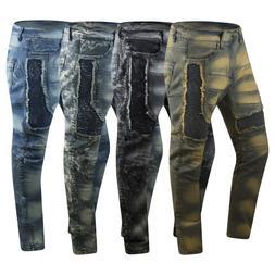 New Men Biker Distressed Premium Denim Jeans Skinny Fit Stre