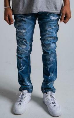 NEW MEN DENIM BLUE RIPPED JEANS DISTRESSED SLIM FIT ACID WAS