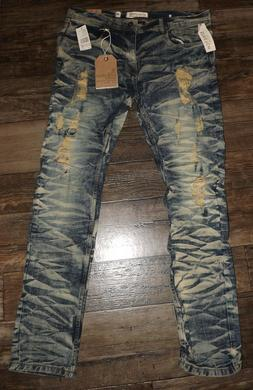 new men denim blue ripped jeans distressed