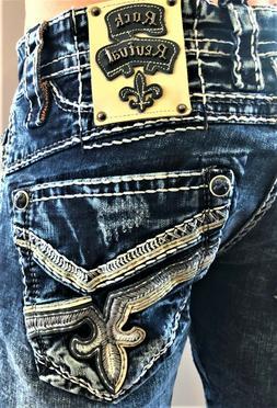 New Mens Rock Revival Cael Straight Denim Jeans size 28 29 R