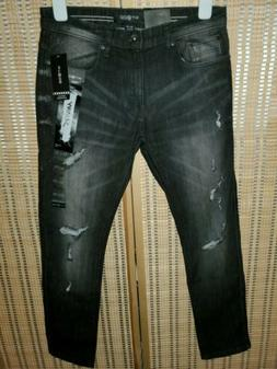 New! Men's WT02 Destroyed Stretch Black Jeans Ripped Skinny