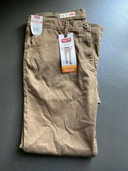 New Wrangler Men's Size 36 X 30 Cub Brown Stretch Flex Regul
