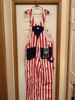 NEW Liberty Mens Bib Overalls RED WHITE & BLUE Denim 42 x 32