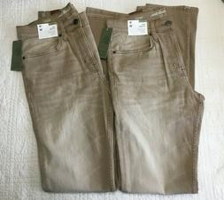 New Mens Khaki Slim Straight Jeans With Stretch & Fading 2 P