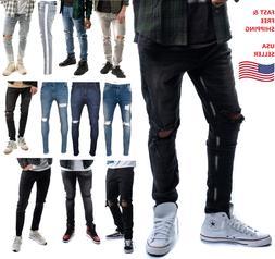 Mens Ripped Slim Skinny Stretch Denim Jeans Pants Distressed