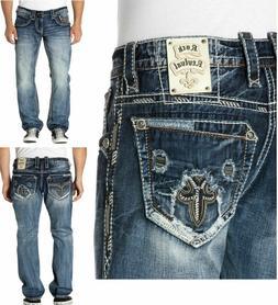 New Mens Rock Revival Vietia Alt Straight Jeans SZ 29 30 31