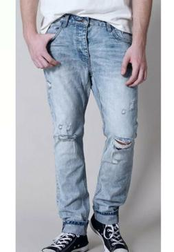 New ONE TEASPOON Mr. Whites Ripped Slim Jeans Size 30 x 31 M