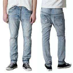 New ONE TEASPOON Mr Whites Tapered Jeans Distressed Rip Mens