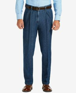 NEW Haggar Stretch Denim Classic-Fit Pleated Pants Jeans Exp