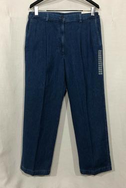 NWT $34.99 Mens Haggar 36 x 30 Blue Pleated Side Elastic Jea
