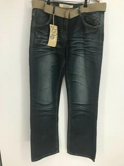 NWT AGILE Collection Men's Blue Belted Straight Jeans Size: