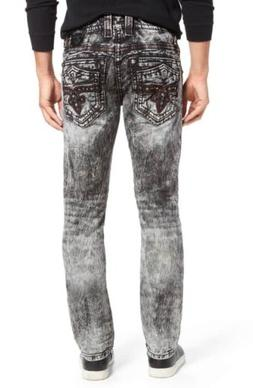 NWT Rock Revival Leotis Alt Straight leg jeans black acid wa