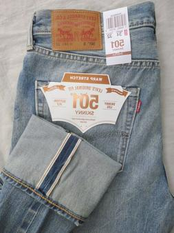 NWT Levi's Men's 501 S Skinny Selvedge Warp Stretch Jeans 34