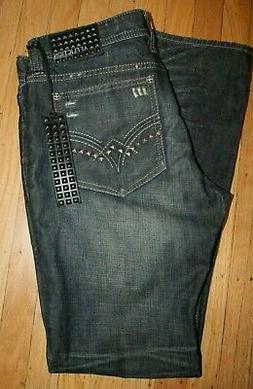 NWT Affliction men 34 x 34 ACE Slim Straight Jeans Black Pre