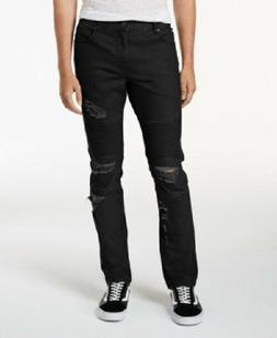 NWT Men's American Rag Jeans Black Moto Distressed Ripped Sl