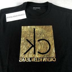 NWT Men's Calvin Klein Jeans Black Tshirt Tee Top Gold CK Lo