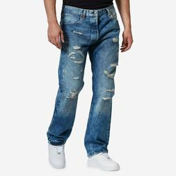 NWT Men's Levi's 501 Original Washed Blue Ripped Distressed
