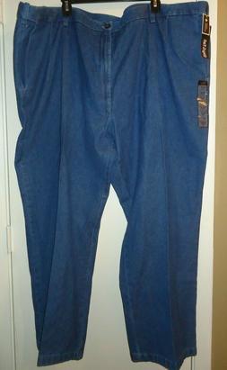 NWT MENS HAGGAR Blue Jeans PANT Comfort Waist SIZE 54 X 30