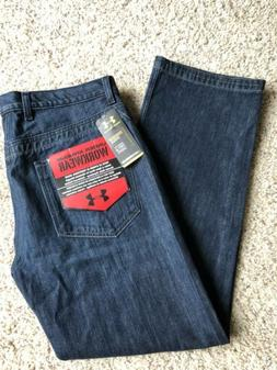 NWT UNDER ARMOUR WorkWear Jeans Men's Sz 36x32 Leather Accen