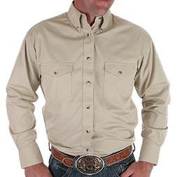 Wrangler Men's Painted Desert Basic Shirt, Tan, Small