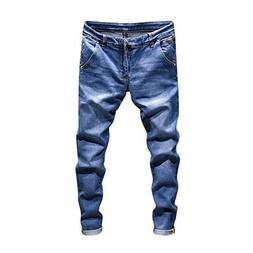Willsa Men's Pants Casual Autumn Denim Cotton Vintage Wash H