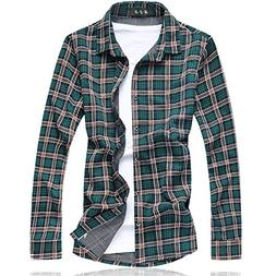OnIn Plaid shirt camisetas Long shirt men Cotton+Polyester F