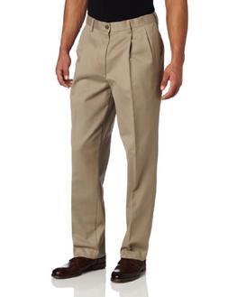 Savane Men's Pleated Wrinkle Free Twill, Khaki, 36x28