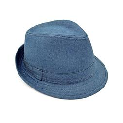 c8a0b7d046638 Premium Jeans Fabric Solid Color Fedora Hat