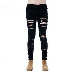 Mens Punk Hipster Hole Skinny Denim Slim Biker Ripped Jeans