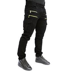 Mens Punk Hipster Skinny Straight Denim Biker Jeans Pants Tr