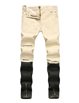 DSDZ Men's Punk Style Ripped Slim Fit Paint Jeans With Botto