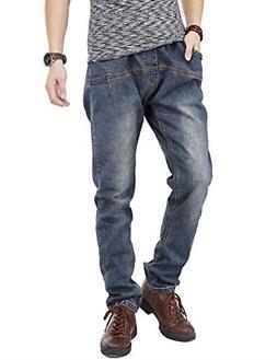 PY-BIGG Mens Jeans Regular Fit Big and Tall Jogger Pants Str