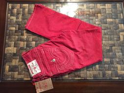 TRUE RELIGION RED CORDUROY STRAIGHT FLAP MENS PANTS JEANS MA