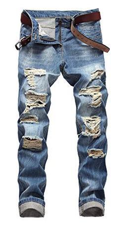 OKilr Pjik Men's Regular Straight Leg Casual Loose Fit Rippe