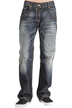 Level 7 Men's Relaxed Bootcut Premium Denim Jeans Whisker Ha