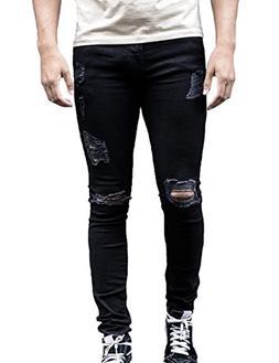 XARAZA Men's Ripped Distressed Full Length Skinny Jeans Deni