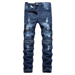 Pishon Men's Ripped Jeans Casual Straight Leg Zippered Stret