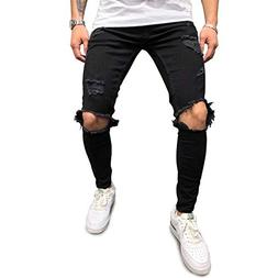 187d2d5e440 Monocloth Men s Ripped Jeans Streetwear Faded Blown Out Kn