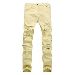 Pishon Men's Ripped Jeans Stretch Zipper Straight Leg Tapere
