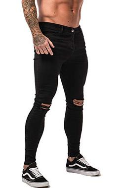 GINGTTO Men's Ripped Repaired Skinny Stretch Jeans 32 Black