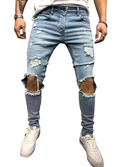 Foerverlonely Men Ripped Skinny Biker Jeans Frayed Pants Dis