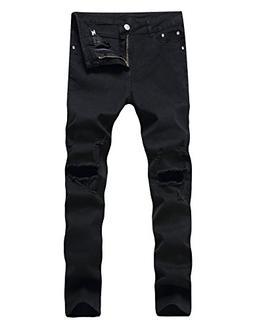 Men's Ripped Skinny Destroyed Holes Jeans Slim Fit Denim Pan