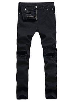 LILBETTER Men's Ripped Skinny Distressed Destroyed Slim Jean