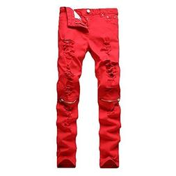 Leward Men's Ripped Skinny Distressed Destroyed Straight Fit