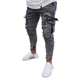 Musuos Men's Ripped Skinny Distressed Destroyed Straight Fit