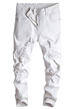 iYBUIA Personality Men Slim Biker Zipper Denim Jeans Skinny Frayed Pants Distressed Rip Trousers