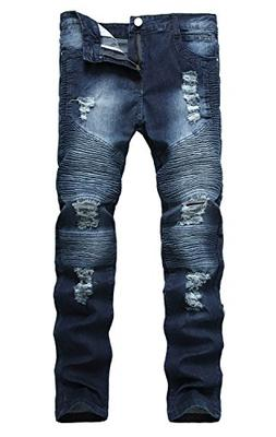 Mens Ripped Slim Fit Straight Denim Jeans Vintage Style with