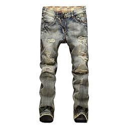 Evelin Lee Men's Ripped Slim Fit Straight Denim Jeans Jogger