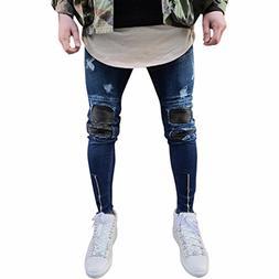 Rambling New Mens Ripped Slim Motorcycle Jeans, Vintage Skin