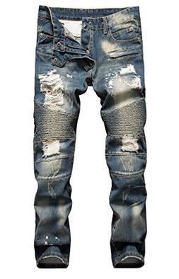 NITAGUT Men's Ripped Slim Straight fit Biker Jeans Dark Blue